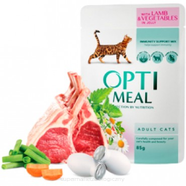 OPTI MEAL - jagnięcina i warzywa w galarecie dla dorosłych kotów saszetka 85g