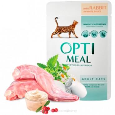 OPTI MEAL - królik w białym sosie dla dorosłych kotów saszetka 85g